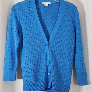 Liz Claiborne Cardigan Blue V Neck Button Sweater